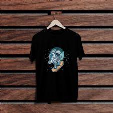 Fantastik Kaykaycı Asrtronot Siyah Renkli Baskılı T-Shirt